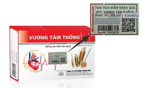 Hộp sản phẩm Vương Tâm Thống có dán tem Tích điểm – Nhận quà